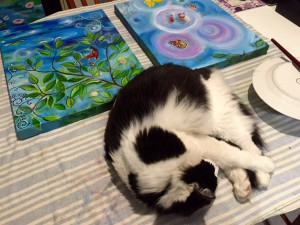 Orlando's yoga poses while painting