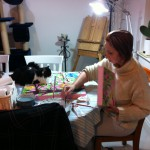 Sometimes the dining room doubles as my studio too!